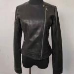 China Slim Fit Fashion Ladies Jackets , Short Black Faux Leather Jacket for sale