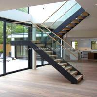 China Modern L-shape Wood Staircase Design / Internal Used Glass Railing Wood Stairs on sale