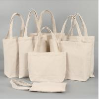Collapsible Cotton Canvas Shopper Tote Bag Beige Color For Young Women for sale
