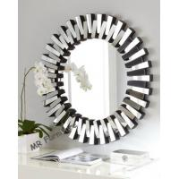 Round Modern 3D Wall Mirror For Living Room Silver / Gold Trimming for sale