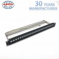 China ANSHI Unloaded Blank Rack Mount Patch Panel 24 Ports STP Shielded Network Patch Panel on sale