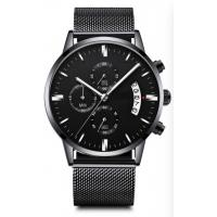 China 3 Atm Waterproof Mens Quartz Watch Lack Stainless Steel Band Chrono Customized on sale