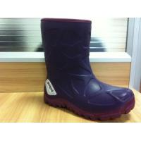 Wholesale PU Unisex Ankle Childrens Rubber Rain Boots Purple 25 Size from china suppliers