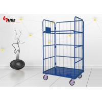 Blue Wire Cage Trolley For Transportation Easy Loading And Unloading for sale