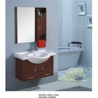 China 85 X 50 / cm round type wooden bathroom mirror cabinet light brown Color on sale