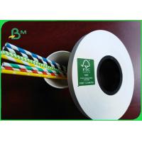 China 14mm * 60 GSM Food Grade White Paper Roll For Paper Drinking Straws FSC Approved on sale