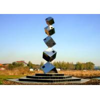 Polished Large Garden Sculptures Metal , Cube Tower Stainless Steel Art Sculptures