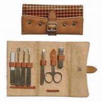 Wholesale Manicure and Pedicure Set with Deluxe Leather Case and Stainless Steel Implements from china suppliers