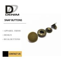 Buy cheap 22L Antique Brass Brushed Metal Snap Buttons Custom Press 4 Part Button from wholesalers