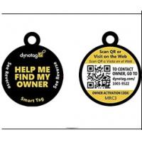 Quality Blank Sides QR Code Pet Tag Round Shape Match With Microchip 15 Digits for sale