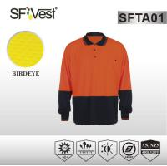 AS/NZS 1906 Hi-viz long sleeve polo orange safety shirts , elastic cuff and rib collar