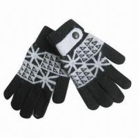 Wholesale Angora mixed jacquard gloves, made of 60% polyester, 5% wool, 25% polyester and 10% spandex from china suppliers