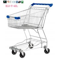 Small Wire Mesh Shopping Trolley Carts For Grocery Store , Blue Handle With Logo 60KGS
