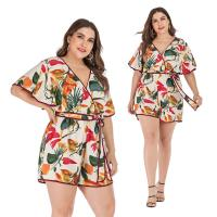 Quality New summer sexy v-neck waist print jumpsuit shorts for sale