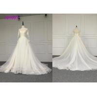 Wholesale Crystal A Line Ball Gown Wedding Dress / Tulle Long Sleeve Ball Gown Wedding Dress from china suppliers