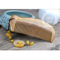 China Phoenix  natural green sandalwood comb, static-free, carving free in 18 letters, ideal present,bussiness gift for sale