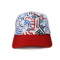 Wholesale High Quality 5 Panel Caps sublimation pattern camper cap with polyester with nylon webbing plastic buckle from china suppliers