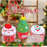 Wholesale Smile Face Santa Claus Merry Xmas Tree Christmas Gift 100% Cotton Hand Towel from china suppliers