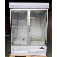 Free Standing 2 Door Glass Display Freezer Fridge With Fan Cooling System for sale