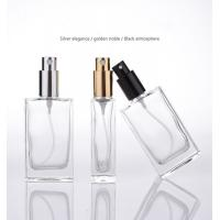 China Flat Square Glass Perfume Spray Bottles Metallic Pump 50ml Capacity Refillable on sale