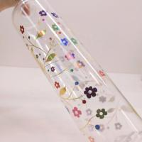 China Customized 236ML Body Mist Transparent Colorful Flower Adhesive Labels For Bath Bottles on sale