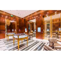 China Jewelry Mall Store Interior decoration by Cherry wood wall panel with Stainless steel display counters on sale