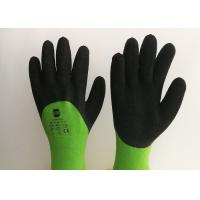 Acrylic Liner Crinkled Latex Coated Gloves Double Dipping Palm Pattern for sale