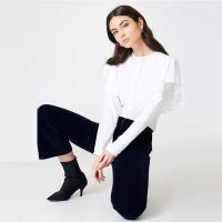 China New Fashionable Women Formal White Frill Blouse Women for sale