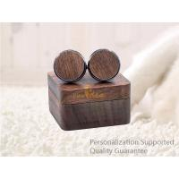 Wholesale Men's Accessories Vacation Gifts Black Walnut Wooden Cuff Links with Gift Box, Laser Engraved Logo, Small Order from china suppliers