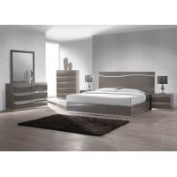 King Size Bedroom Furniture Sets , Dark Color High Gloss Bedside Cabinets E1 MDF