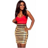 Anti - Wrinkle Gold Foil Bandage Dress Sleeveless Rayon Nylon Spandex Material for sale