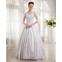 Wholesale Women Queen Anne Neckline Wedding Dresses Beaded / A line Wedding Gowns with long trains from china suppliers