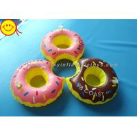 Best PVC Inflatable Water Floats Food Floating Donut Inflatable Drink Holder / Cup Holder wholesale
