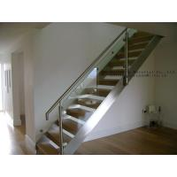 Wholesale Glass staircase Framless Balustrading Stainless Stringer Wood Treads from china suppliers