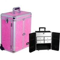 Wholesale Sunrise Outdoor Travel Professional Cosmetic Holder Pink Crocodile Texture Split from china suppliers