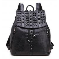 Wholesale 2017 Punk Style Black Flap Stud Patchwork Backpack for Hot Girls from china suppliers
