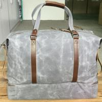 China Retro Waxed Canvas Gray Large Mens Duffle Bags with Leather Trim on sale