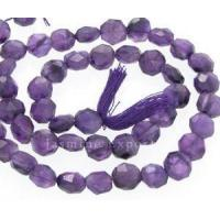 Amethyst coin faceted beads