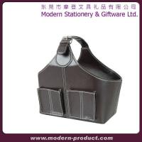 Wholesale Fashionable cube leather storage basket with pockets from china suppliers