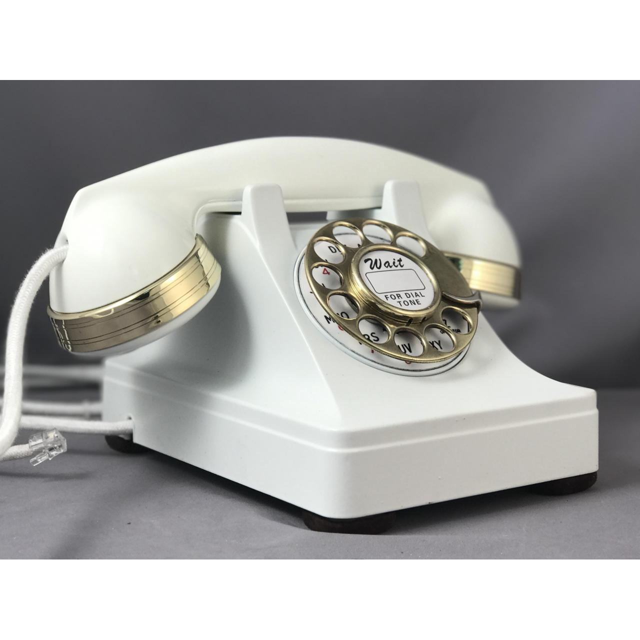 Wholesale 302 - White - Brass Trim Antique Phones from china suppliers
