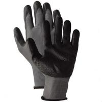 China nitrile dimpled grain on palm gloves for sale