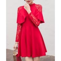 Buy cheap Slim long sleeve Korean style lace conventional dress from wholesalers