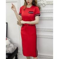 Buy cheap Spring knitted skirt Korean style slim tops 2pcs set from wholesalers