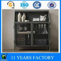 Wholesale Industrial Vintage Look 2 Shelves Metal Open Cabinet with Mesh Door from china suppliers