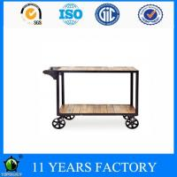 Wholesale Industrial Metal Frame 3 Shelves Solid Wood Wine Cart with Wheels from china suppliers