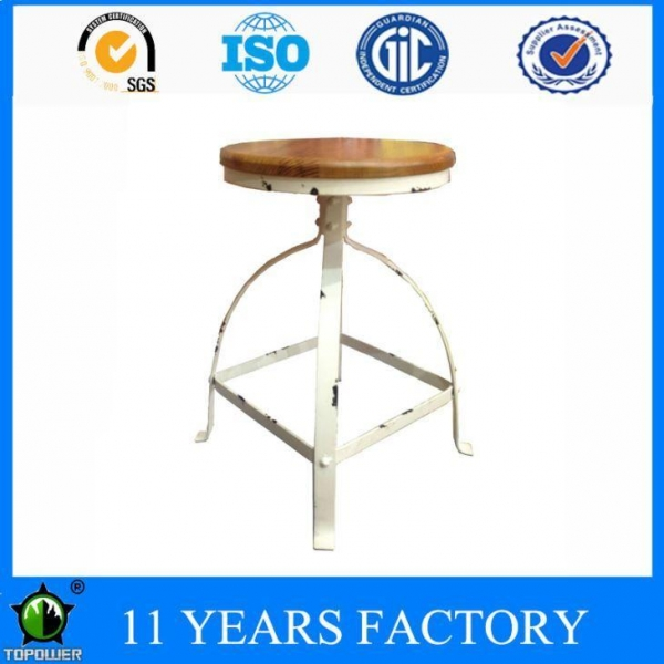 Quality Vintage Look White Metal Frame Round Pinewood Outdoor Bar Stool Chairs for sale
