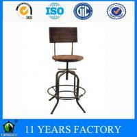 Wholesale Industrial Antique Scooped Pindwood Round Seat and Backrest Swivel Bar Stool from china suppliers