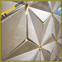 China Unique design wall latte beige marble 3d tiles for hotel for sale