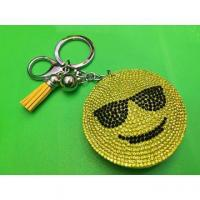 Best Yellow Smiley Faces Pendant Leather Fringed Keychain Bag Ornaments wholesale