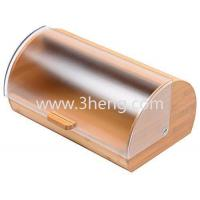 Wholesale Bread Box made of pure Bamboo with stylish easy glide cover with handle from china suppliers
